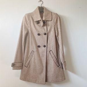H&M Brown Black Plaid Retro Coat